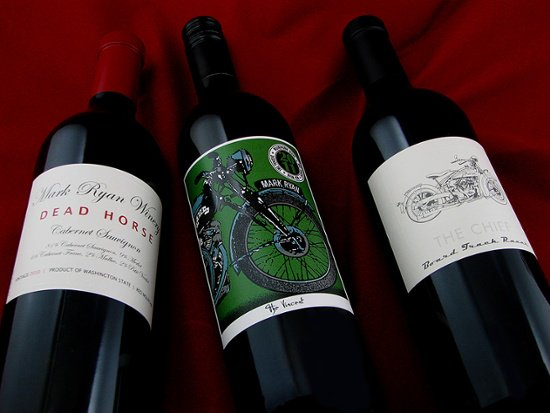 Dead Horse, The Vincent, The Chief wine labels from Mark Ryan Winery