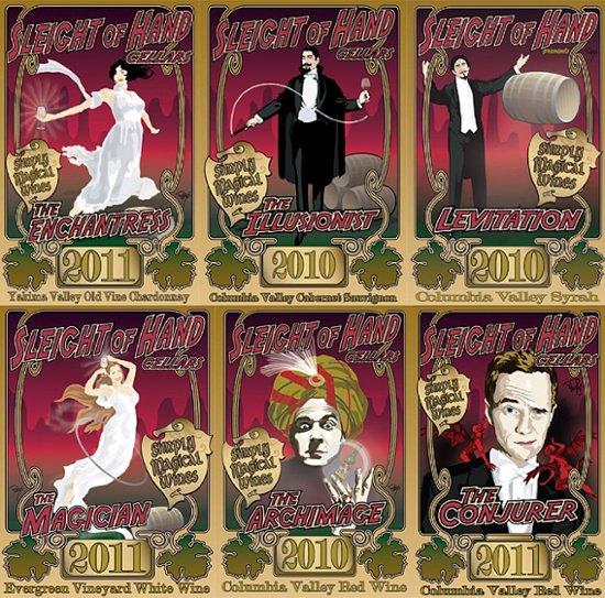 Sleight of Hand Cellars wine label cameo apperances