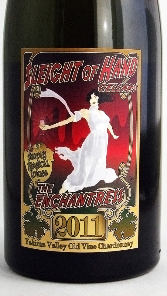 Sleight of Hand Cellars, The Enchantress 2011 Yakima Valley Old Vine Chardonnay custom wine label