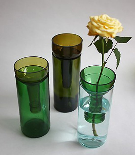 A cut wine bottle makes a vase