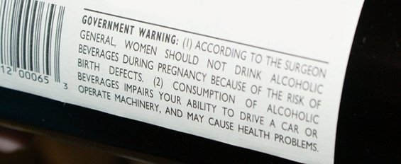 TTB health warning label for wine