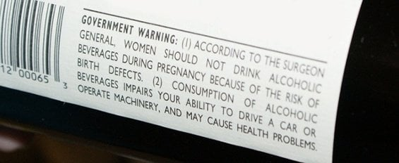 TTB health warning label for wine