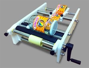 Hand crank label applicator