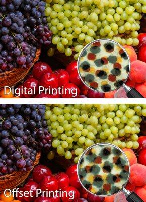 Digital offset vs flexography dot patterns