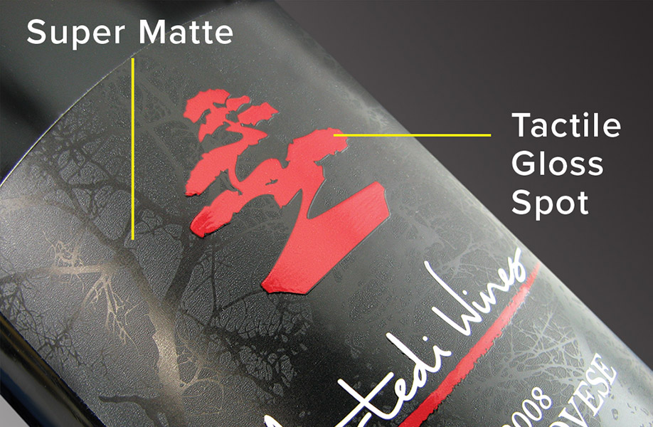 Tactile spot varnish for product labels