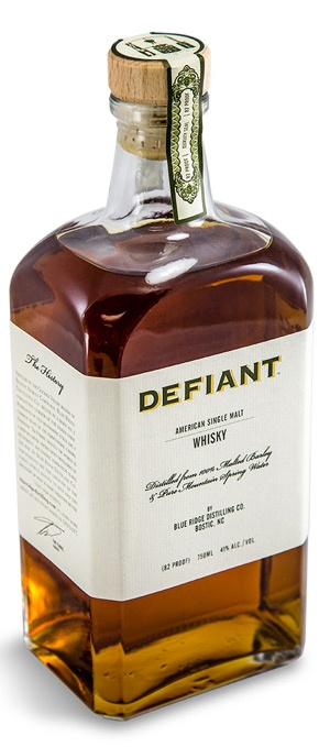 Defiant Whiskey custom distilled spirits label