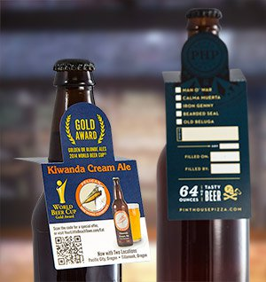 hang tags on bottles of beer