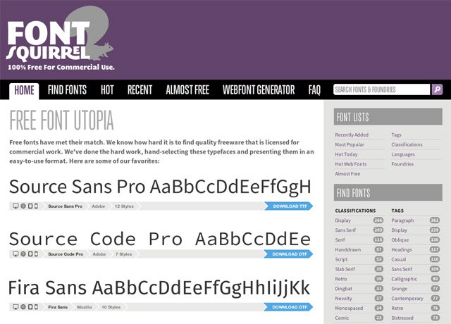 Free fonts from Font Squirrel