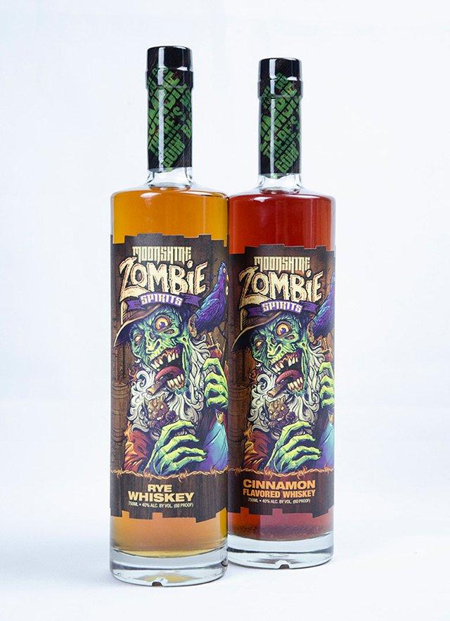Moonshine Zombie Spirits, digital label, custom diecut