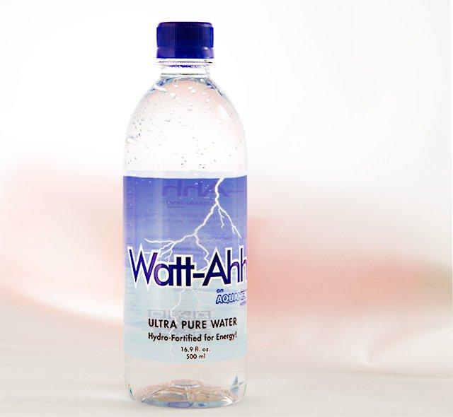 Watt-Ahh plastic bottle labels
